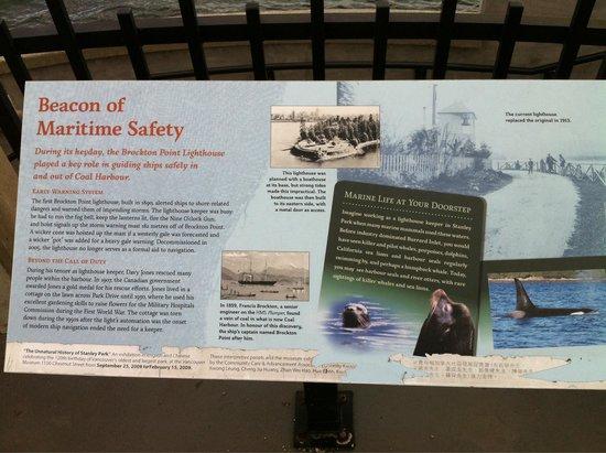 Brockton Point Lighthouse: Information display
