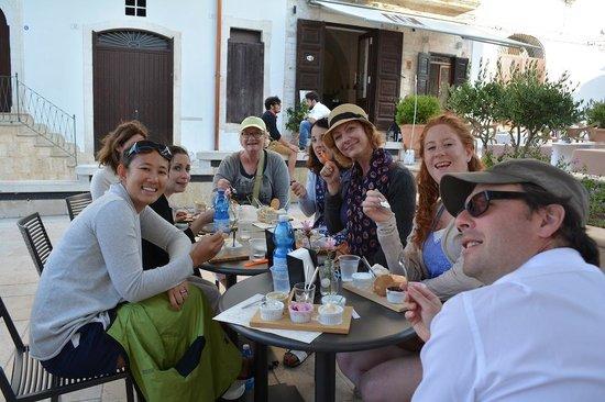 Cremeria alla Scala: Our group enjoying their gelato degustazione - happy faces all around!