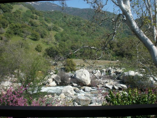 Three Rivers, CA: View of the backyard, river and mountains from balcony of main building at Lodge