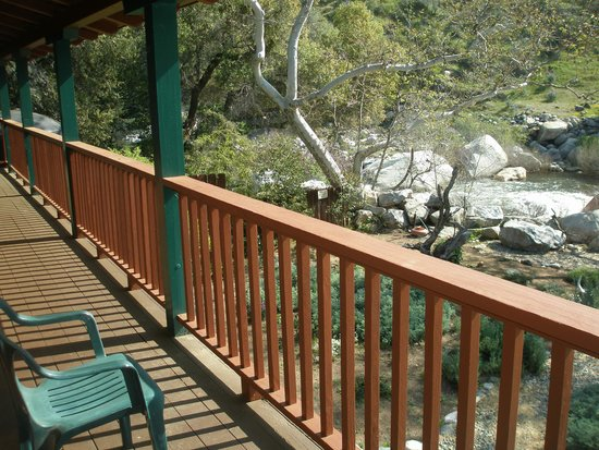 Three Rivers, CA: View of the backyard and river from balcony of building near the pool