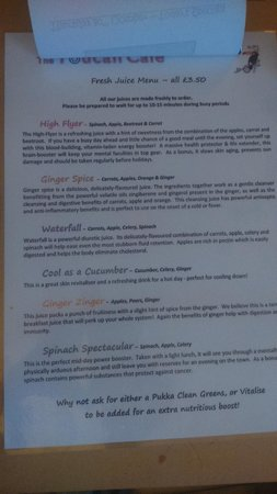 The Toucan Cafe: fresh juice menu