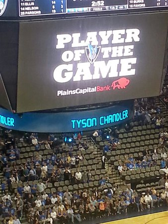 American Airlines Center: Mavs x Jazz, Tyson Chandler player of the game.
