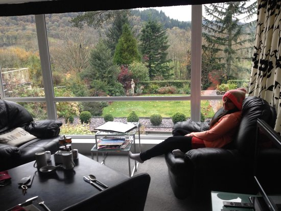 Tyn-y-Fron Luxury B&B: Nicole enjoying the great views from the valley view suite .