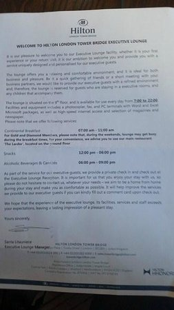 Hilton London Tower Bridge: The letter informing of the reduced executive lounge offer