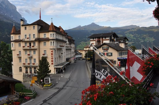 Hotel Kreuz & Post: View down the hill, train station is in the lower right.