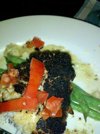 Wild Mango's: Cashew encrusted grouper, BURNT
