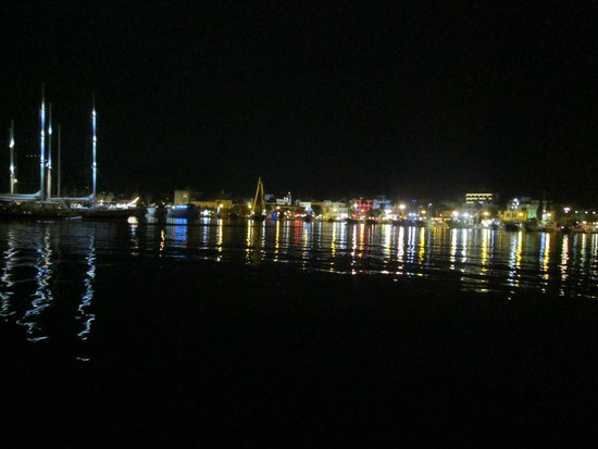 View from hotel across the harbour at night
