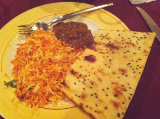 Golden Leaf: Pilau Rice, Naan and North Indian style mutton (medium spicy)