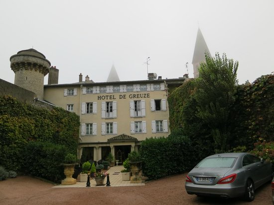 Hotel de Greuze : Outside of hotel with abbey spire in background