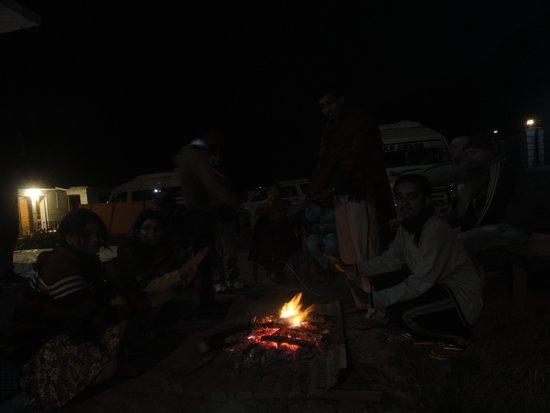 Panchali : bonfire in the hotel lawn...
