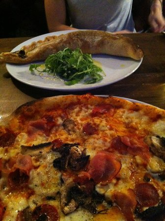 Zizzi - Durham: Classic Pizza and Calzone at back of shot.