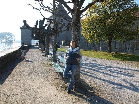 на берегу Женевского озера перед Chateau de Rolle