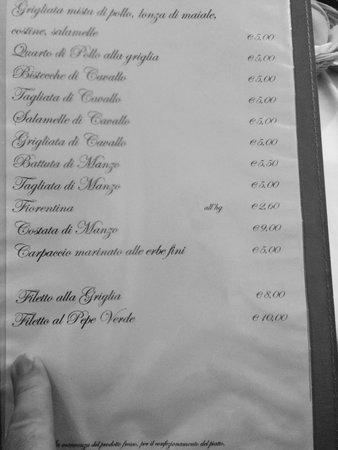 Lonato del Garda, Itália: Menù con prezzi