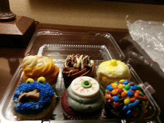 Nadia Cakes Cupcake Shop: Rum red velvet, triple chocolate, lemon, cookie monster, zombie, M & Ms