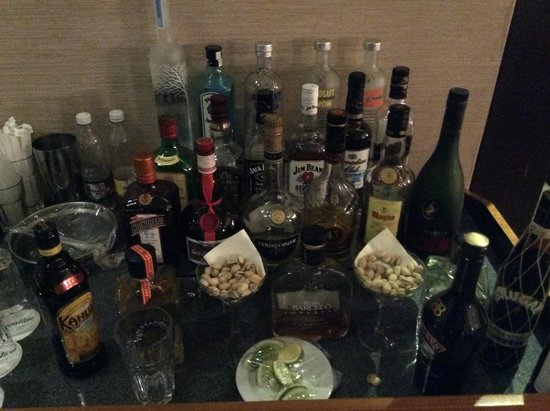 Premium alcohol in the Diamond Club lounge
