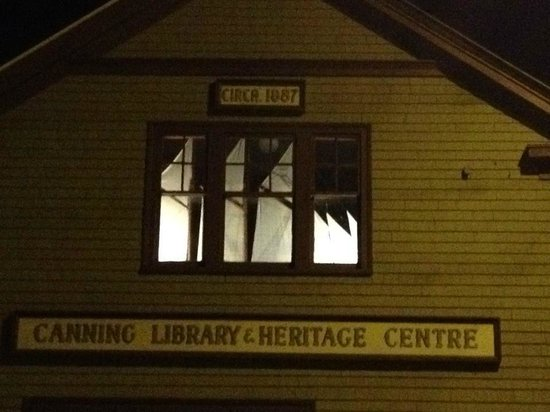 Canning Heritage Centre at night. Can you see the sails of the replica of the schooner Fieldwood