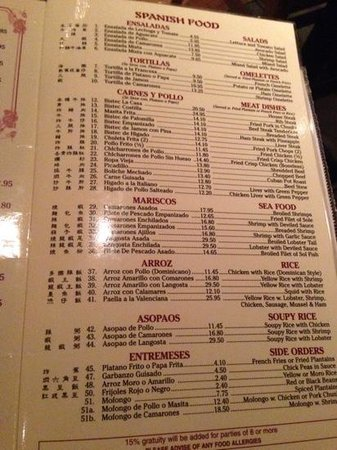 Menu In Chinese And Spanish Picture Of Flor De Mayo Restaurant