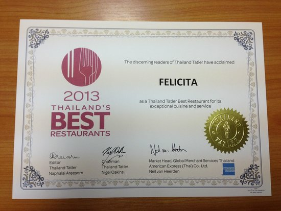 Felicita Restaurant: Award
