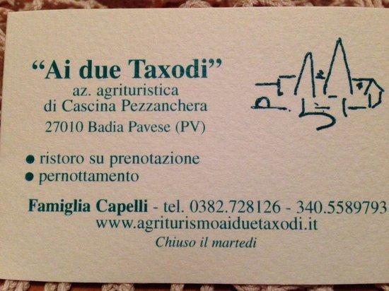 Ai Due Taxodi: biglietto da visita
