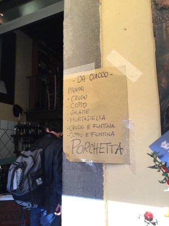"""Da Ciacco : Il """"menù"""""""