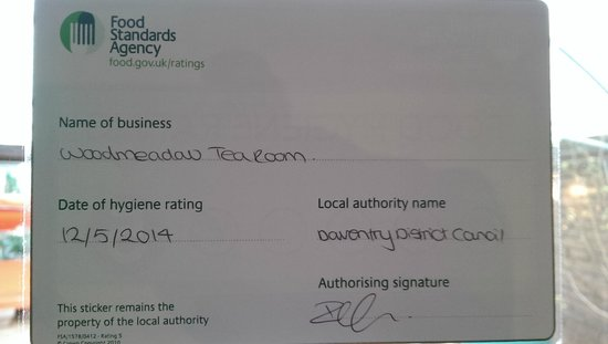 5 Star Food Hygiene Rating Picture Of Woodmeadow Garden