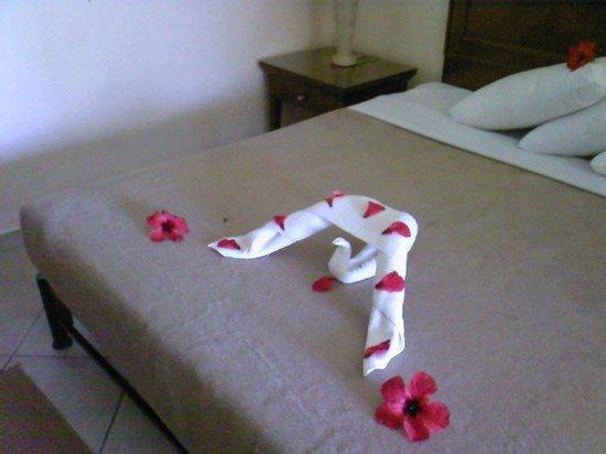 Jaz Almaza Beach Resort: camera: ogni giorno un decoro diverso