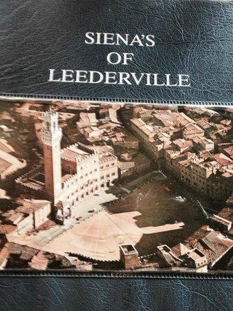 Siena's Leederville: Menu