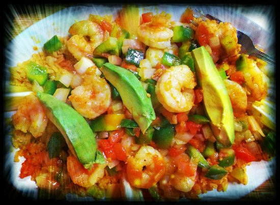 Maria's Cantina Mexican Grill : garlic shrimp over rice with fresh avocado slices, delishious