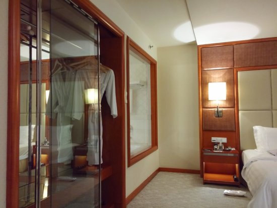 Pullman Shanghai Skyway Hotel: The closet with the glass door and glass window viewing into the bathtub.