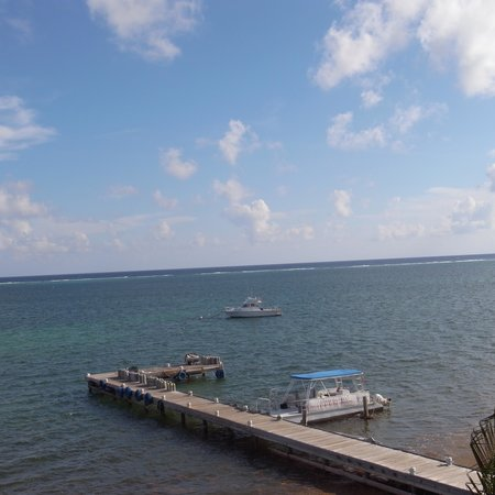 Compass Point Dive Resort: view and dive boats