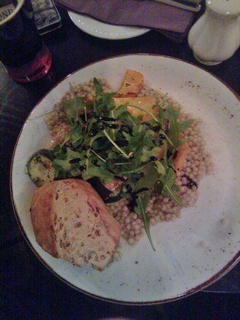 The Kings Arms Hotel: Char Grilled Mixed Vegetable Stack (v) with a sweet chilli dressing and warm giant couscous £9.5