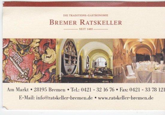 Visitenkarte Bremer Ratskeller Bild Von Bremer Ratskeller