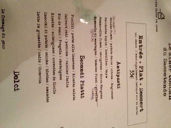 Sassotondo: menu