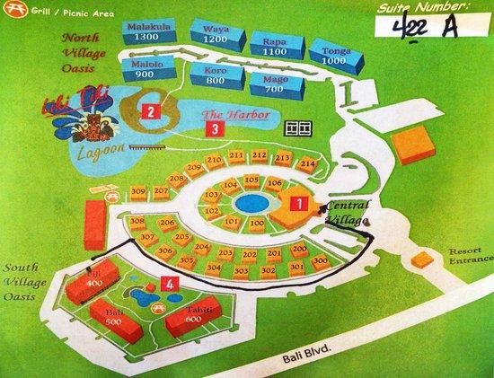 Liki Tiki Village: Liki Tiki Resort map - renovated rooms are in 400, 500, 1200, 1300 as of Sept 2014