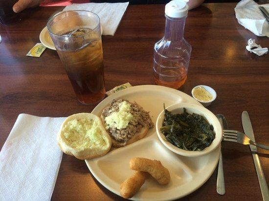 Ralph's barbecue: Ralph's chopped pork sandwich, collard greens, hush puppies, sweet tea. Another beautiful day in