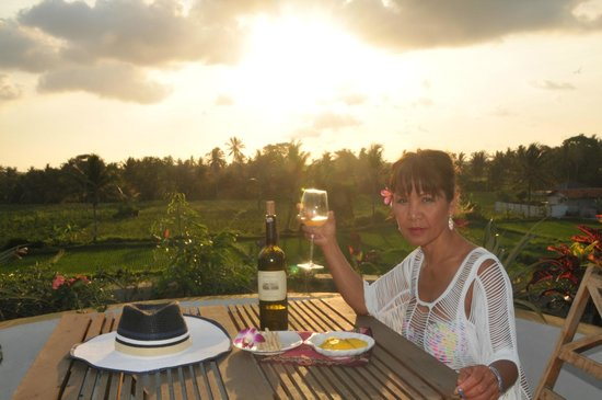The roof top, best place to watch the sunrise and sunset. Lovely view of the rice fields all aro