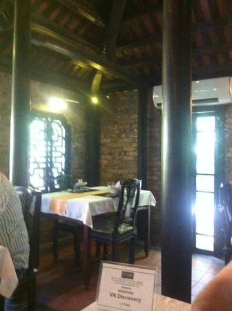 Inside lovely surrounds of the air-conditioned part of the restaurant