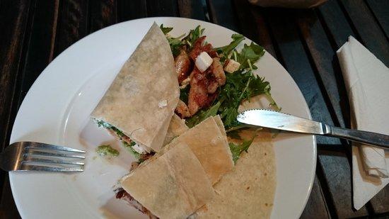 Cafe Mondo: Avocado-chicken-feta-rocket-mayonaise-wrap