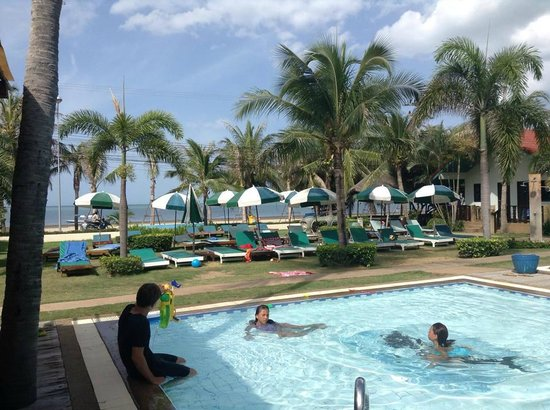 Dolphin Bay Resort : View from the pool toward the beach