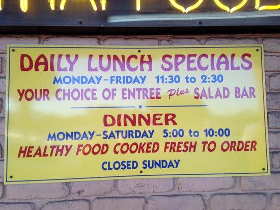 84 Thai Food: 84 Thai is closed Sundays; no lunch Saturdays