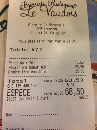 Brasserie Restaurant Le Vaudois: ticket