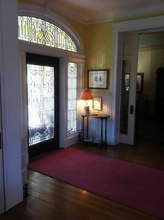 Clifton House: Entryway with cut leaded glass.