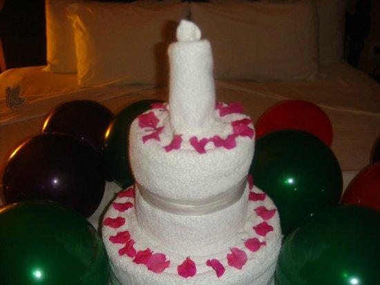Birthday towel art cake Picture of El Dorado Royale by Karisma