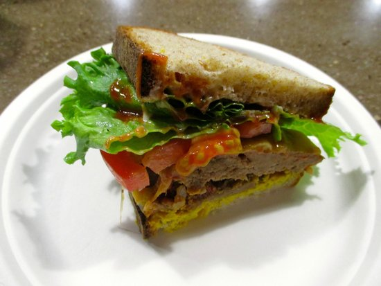 Three Girls Bakery: The meatloaf sandwich (halved)