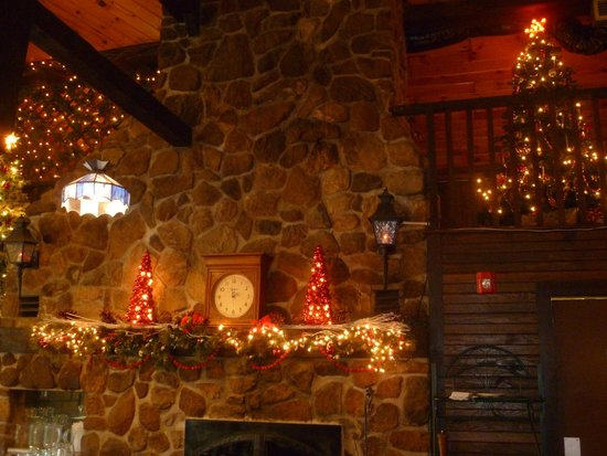 Top of The Green At Apple MTN : Beautiful stone fireplace decorated for the holidays