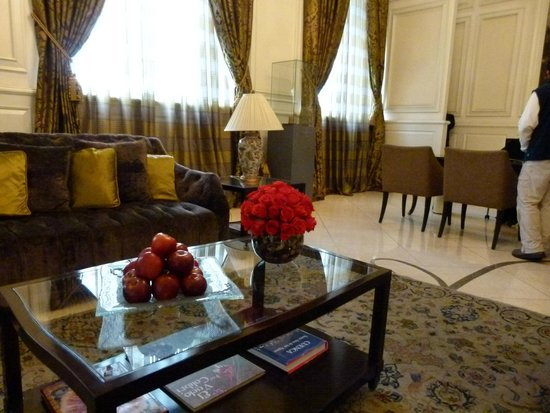 """Casa Gangotena: The entrance parlor where the """"front desk"""" is located."""