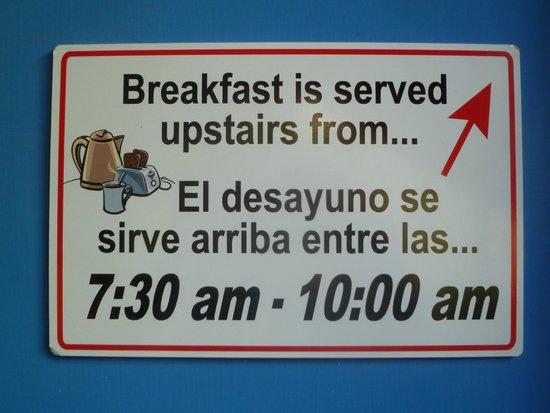 DreamKapture Hostel: Breakfast 7:30 - 10:00 am