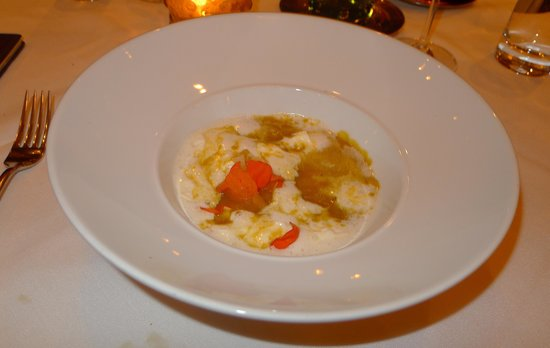 Autumn Squash Soup w/Nasturtium cream, granny smith apple, toasted ...