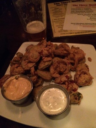 The Three Monkeys: Bad but so good, fried pickles!