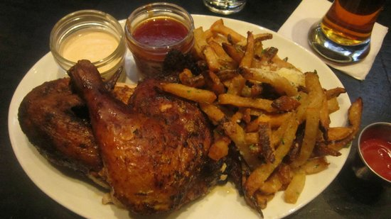 Public House: Amish Chicken w/ Frites (BBQ and White BBQ sauces)